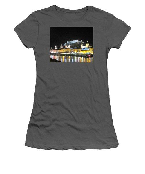 Salzburg At Night Women's T-Shirt (Junior Cut) by Betty Buller Whitehead