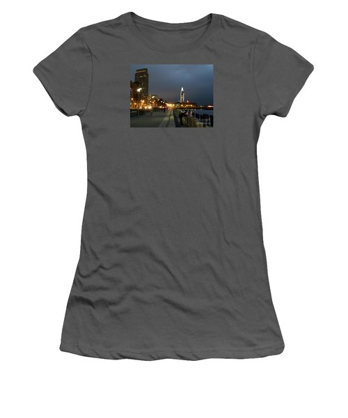 Women's T-Shirt (Junior Cut) featuring the photograph San Francisco Bay At Night by Haleh Mahbod