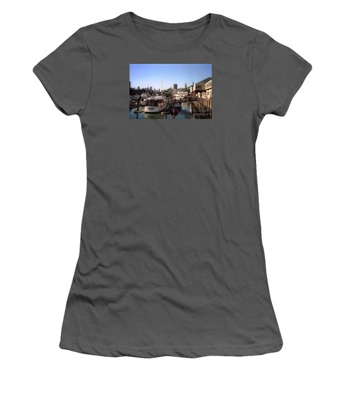 San Francisco Pier And Boats Women's T-Shirt (Junior Cut) by Ted Pollard