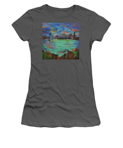 San Francisco Skyline In Sunset Women's T-Shirt (Athletic Fit)