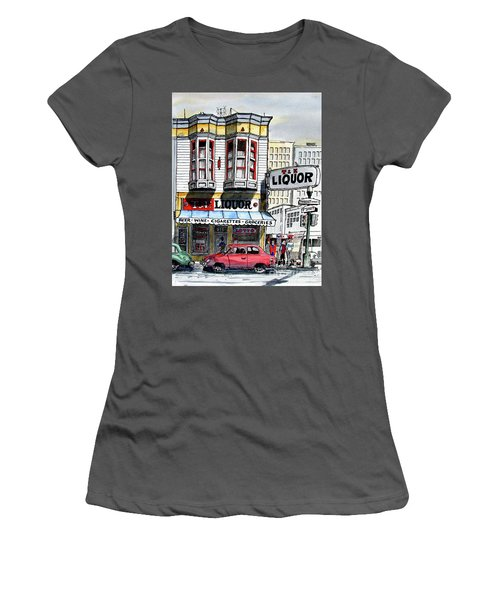Women's T-Shirt (Junior Cut) featuring the painting San Francisco Street Corner by Terry Banderas