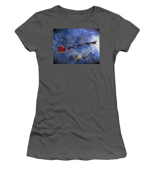 Santa And Reindeer Women's T-Shirt (Junior Cut) by Dave Luebbert