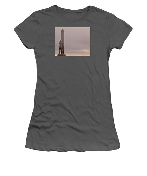 Women's T-Shirt (Junior Cut) featuring the photograph Santa Cruz Santa Surfer  by Lora Lee Chapman