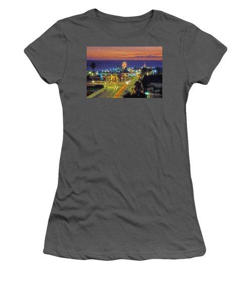 Women's T-Shirt (Junior Cut) featuring the photograph Santa Monica Ca  Pacific Park Pier by David Zanzinger