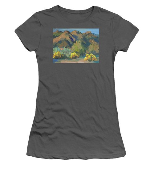 Women's T-Shirt (Junior Cut) featuring the painting Santa Rosa Mountains And Brittle Bush by Diane McClary