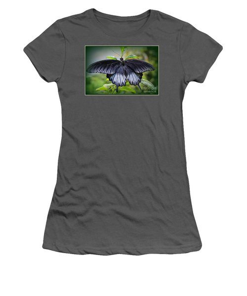 Sapphire Blue Swallowtail Butterfly Women's T-Shirt (Athletic Fit)