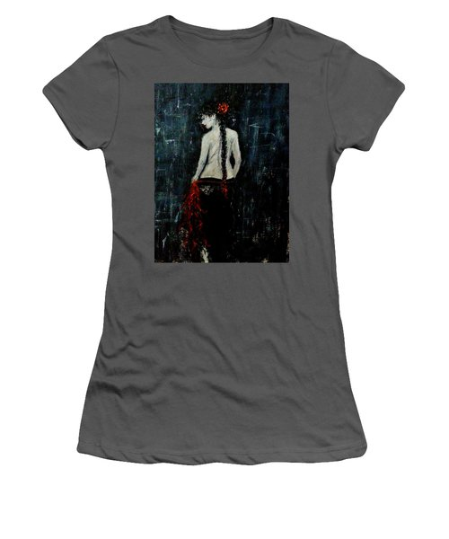 Women's T-Shirt (Junior Cut) featuring the painting Saturday Evening  by Cristina Mihailescu