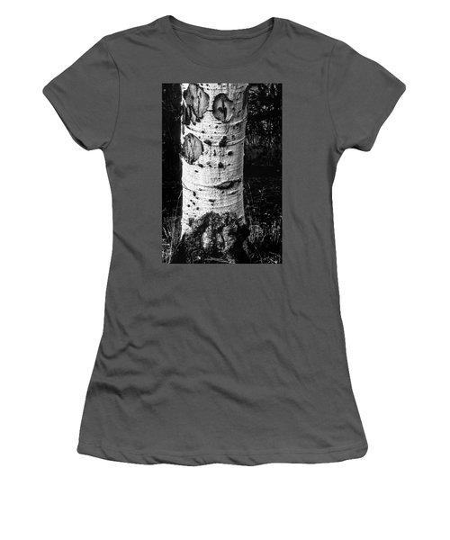 Scarred Old Aspen Tree Trunk In Colorado Forest Women's T-Shirt (Athletic Fit)