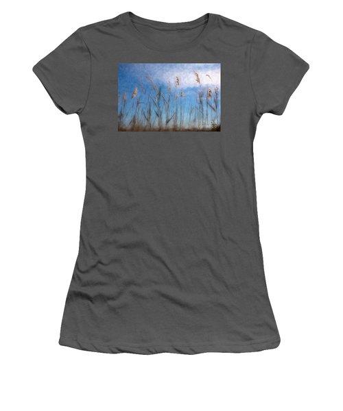 Sea Oats And Sky On Outer Banks Ap Women's T-Shirt (Junior Cut) by Dan Carmichael