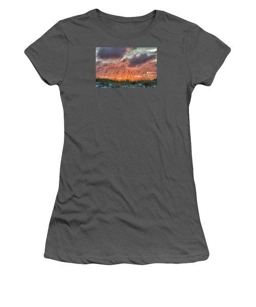 Women's T-Shirt (Junior Cut) featuring the digital art Sea Oats Sunset by Phil Mancuso