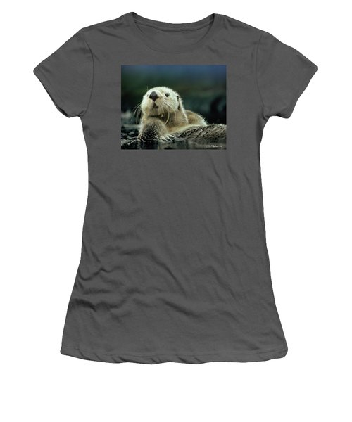 Sea Otter  Women's T-Shirt (Junior Cut) by Tim Fitzharris