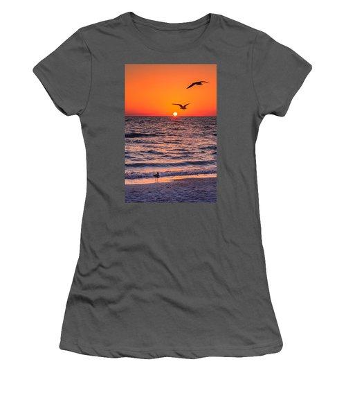 Seagull Hat-trick Women's T-Shirt (Junior Cut) by Craig Szymanski