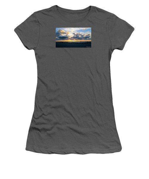 Women's T-Shirt (Junior Cut) featuring the photograph Seagulls On The Beach At Sunrise by Robert Banach