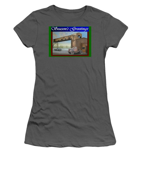 Women's T-Shirt (Junior Cut) featuring the painting Season's Greetings Old Mine by Stuart Swartz