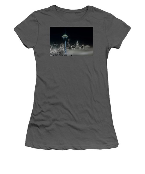 Seattle Foggy Night Lights In Bw Women's T-Shirt (Athletic Fit)