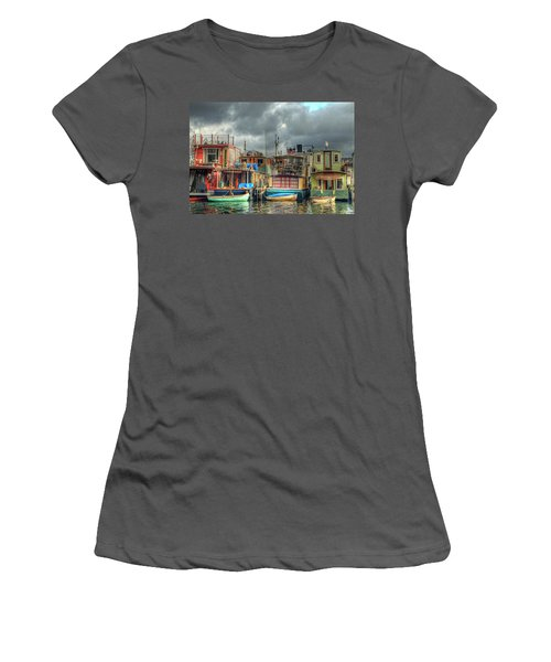 Seattle Houseboats Fine Art Photograph Women's T-Shirt (Athletic Fit)