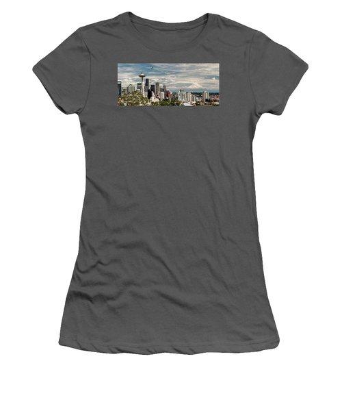 Seattle Space Needle With Mt. Rainier Women's T-Shirt (Junior Cut) by Tony Locke