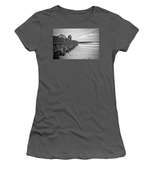 Women's T-Shirt (Athletic Fit) featuring the photograph Separation Monochrome by Alan Raasch