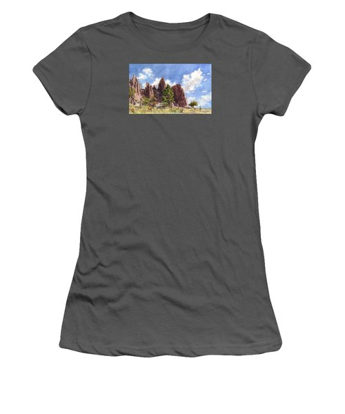 Women's T-Shirt (Junior Cut) featuring the painting Settler's Park, Boulder, Colorado by Anne Gifford