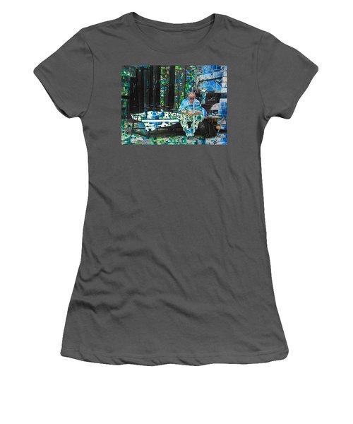 Women's T-Shirt (Junior Cut) featuring the mixed media Shelter by Tony Rubino