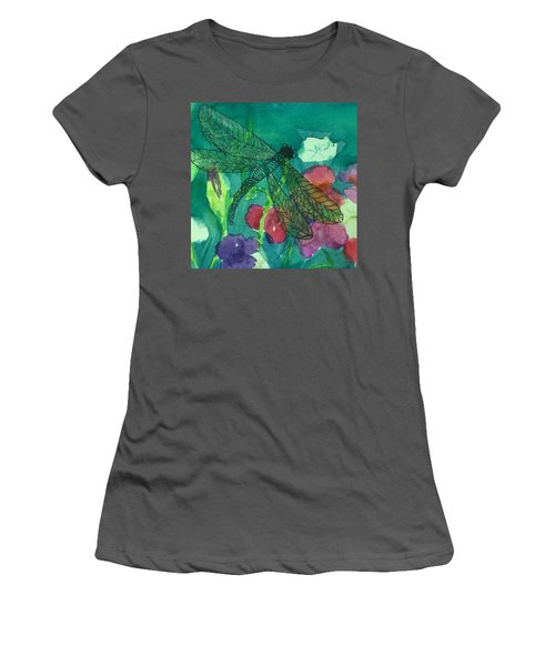 Shimmering Dragonfly W Sweetpeas Square Crop Women's T-Shirt (Athletic Fit)