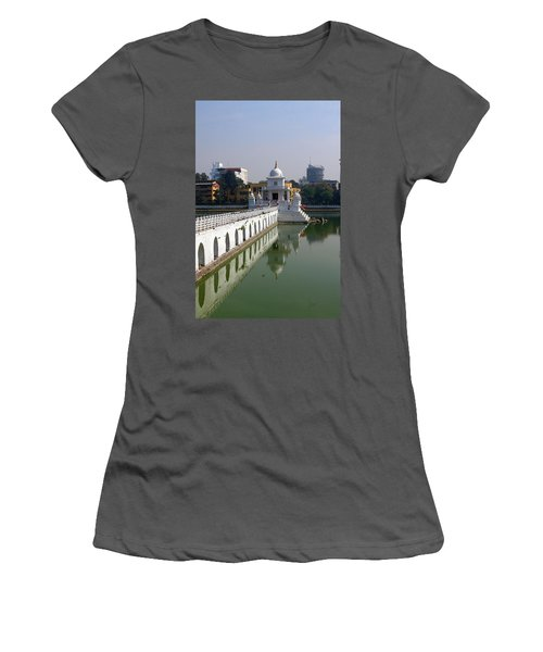 Women's T-Shirt (Junior Cut) featuring the photograph Shiva Temple In Lake Rani Pokharil, Kathmandu, Nepal by Aidan Moran