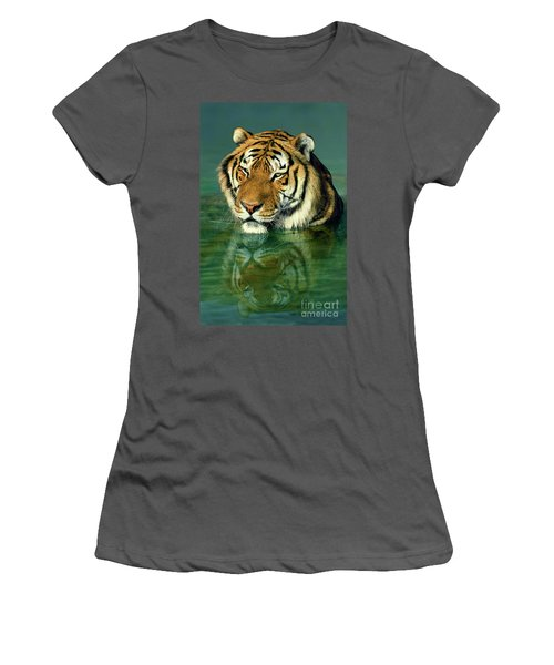 Siberian Tiger Reflection Wildlife Rescue Women's T-Shirt (Junior Cut) by Dave Welling