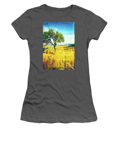 Women's T-Shirt (Athletic Fit) featuring the photograph Sicilian Landscape With Tree by Silvia Ganora