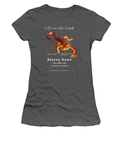 Sierra Newt - Color Newt - White Text Women's T-Shirt (Junior Cut) by Lisa Redfern
