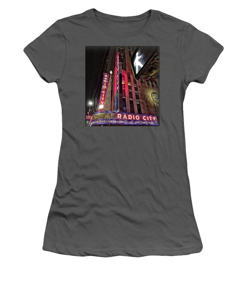 Women's T-Shirt (Junior Cut) featuring the photograph Sights In New York City - Radio City by Walt Foegelle