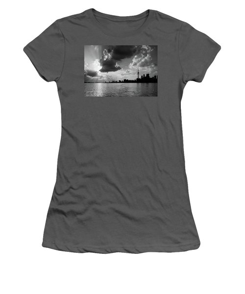 Silhouette Cn Tower Women's T-Shirt (Junior Cut) by Nick Mares