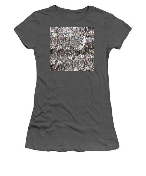 Women's T-Shirt (Junior Cut) featuring the photograph Silver Heart by Ulrich Schade