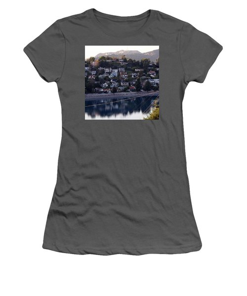 Silver Lake Reservoir And Hollywood Hills Women's T-Shirt (Athletic Fit)