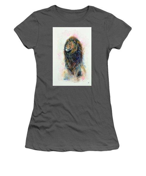 Women's T-Shirt (Athletic Fit) featuring the painting Simba by Zaira Dzhaubaeva
