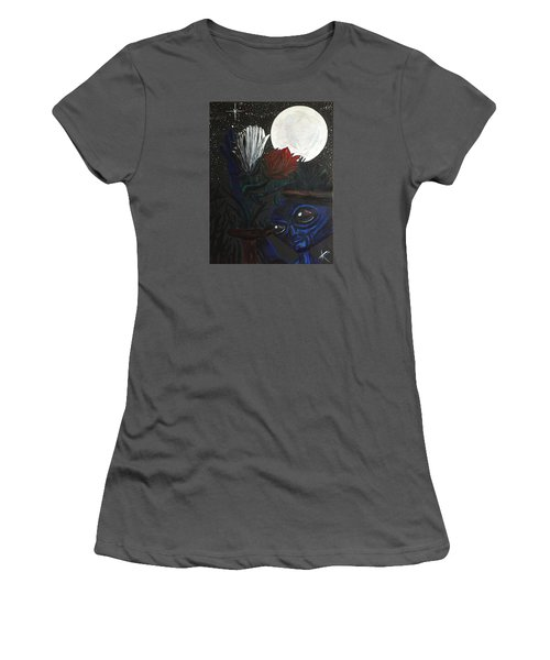 Women's T-Shirt (Junior Cut) featuring the painting Similar Alien Appreciates Flowers By The Light Of The Full Moon. by Similar Alien