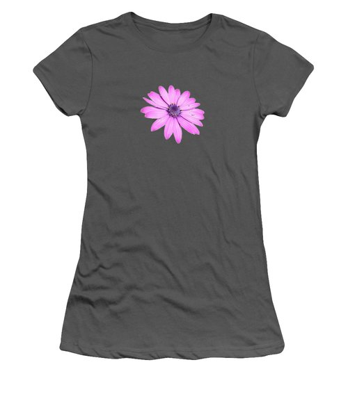 Single Pink African Daisy Women's T-Shirt (Junior Cut) by Tracey Harrington-Simpson