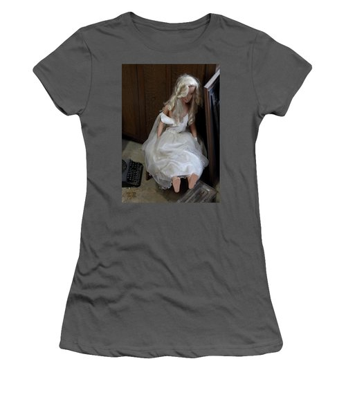 Women's T-Shirt (Junior Cut) featuring the photograph Sitting Doll by Viktor Savchenko