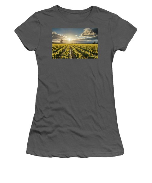 Women's T-Shirt (Junior Cut) featuring the photograph Skagit Daffodils Bright Sunstar Dusk by Mike Reid
