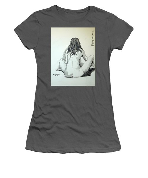 Women's T-Shirt (Junior Cut) featuring the painting Sketch For Sera.10.02 by Ray Agius
