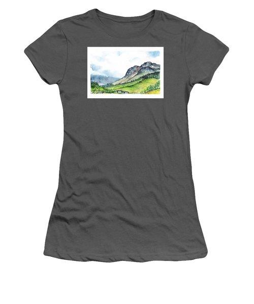 Women's T-Shirt (Junior Cut) featuring the painting Sleeping Valley by Heidi Kriel