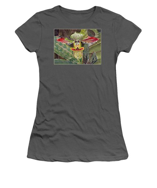 Women's T-Shirt (Junior Cut) featuring the painting Slipper Foot Aladdin by Mindy Newman