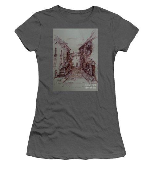 Small Town Drawing Women's T-Shirt (Junior Cut) by Maja Sokolowska