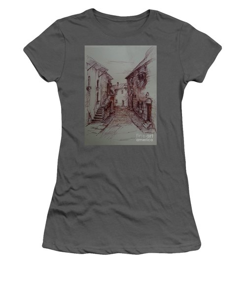Small Town Drawing Women's T-Shirt (Athletic Fit)