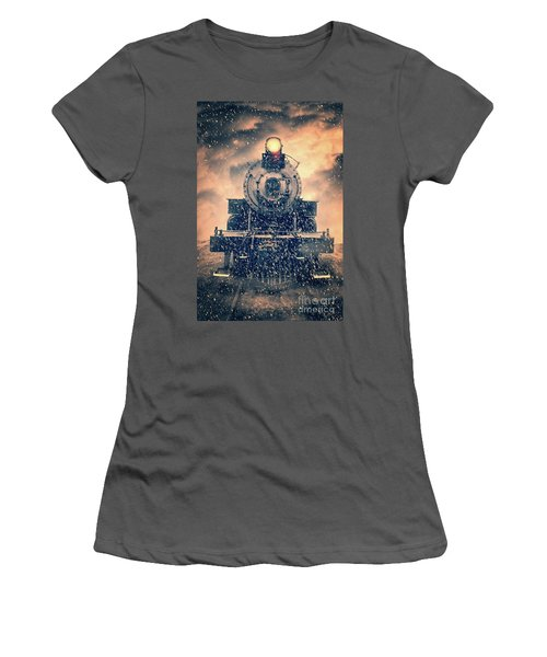 Women's T-Shirt (Athletic Fit) featuring the photograph Snow Bound Steam Train by Edward Fielding