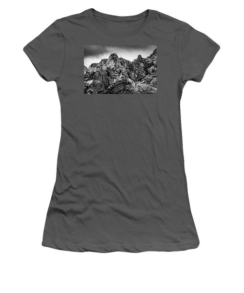 Women's T-Shirt (Athletic Fit) featuring the photograph Snow On Peaks 46 by Mark Myhaver