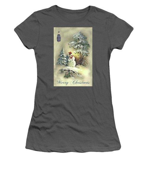 Women's T-Shirt (Junior Cut) featuring the digital art Snowman Christmas Card by Greg Sharpe