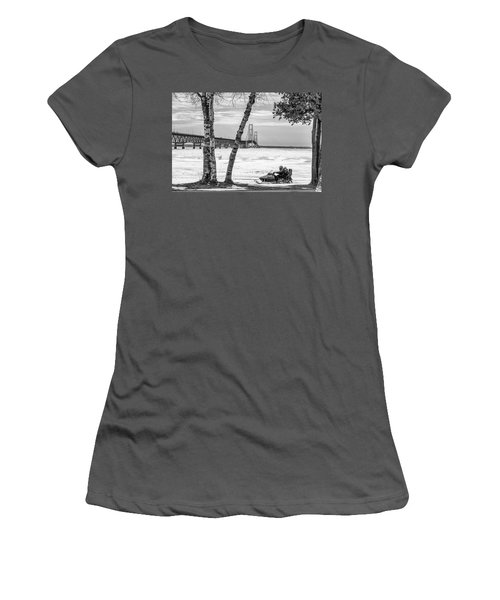 Women's T-Shirt (Junior Cut) featuring the photograph Snowmobile Michigan Black And White  by John McGraw