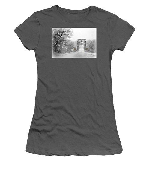 Snowy Day And One Lane Bridge Women's T-Shirt (Junior Cut) by Kathy M Krause