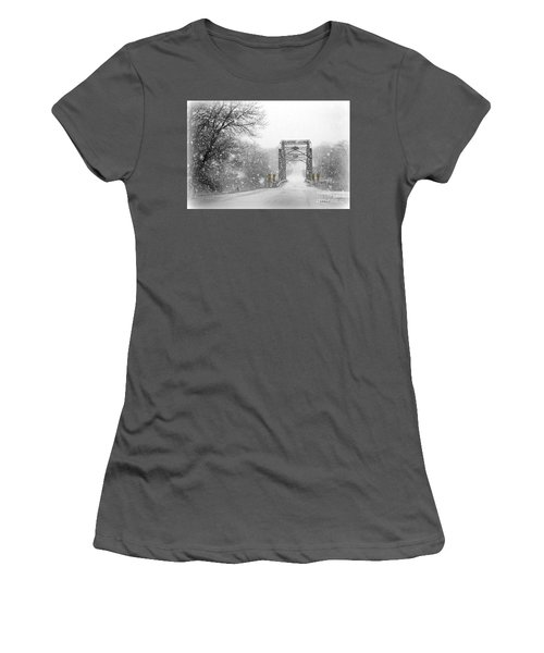 Snowy Day And One Lane Bridge Women's T-Shirt (Athletic Fit)