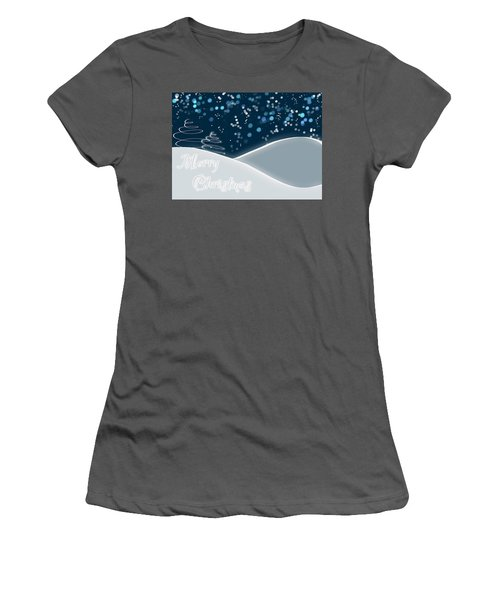 Snowy Night Christmas Card Women's T-Shirt (Athletic Fit)